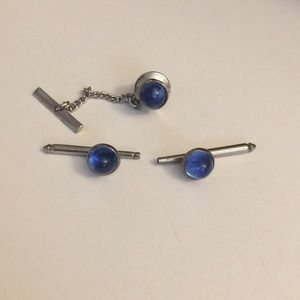 Other - Vintage blue bar cuff links and tie tack pin
